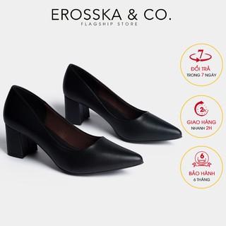 Giày cao gót Erosska thời trang mu i nho n kiê u da ng cơ ba n cao 5cm ma u đen _ EP011 thumbnail