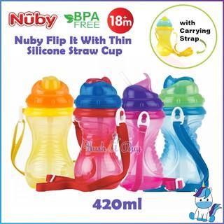 [HÀNG CHÍNH HÃNG]Bình uống nước ống hút Nuby có dây đeo 420ml chất liệu nhựa cao cấp chống tràn, an toàn cho bé
