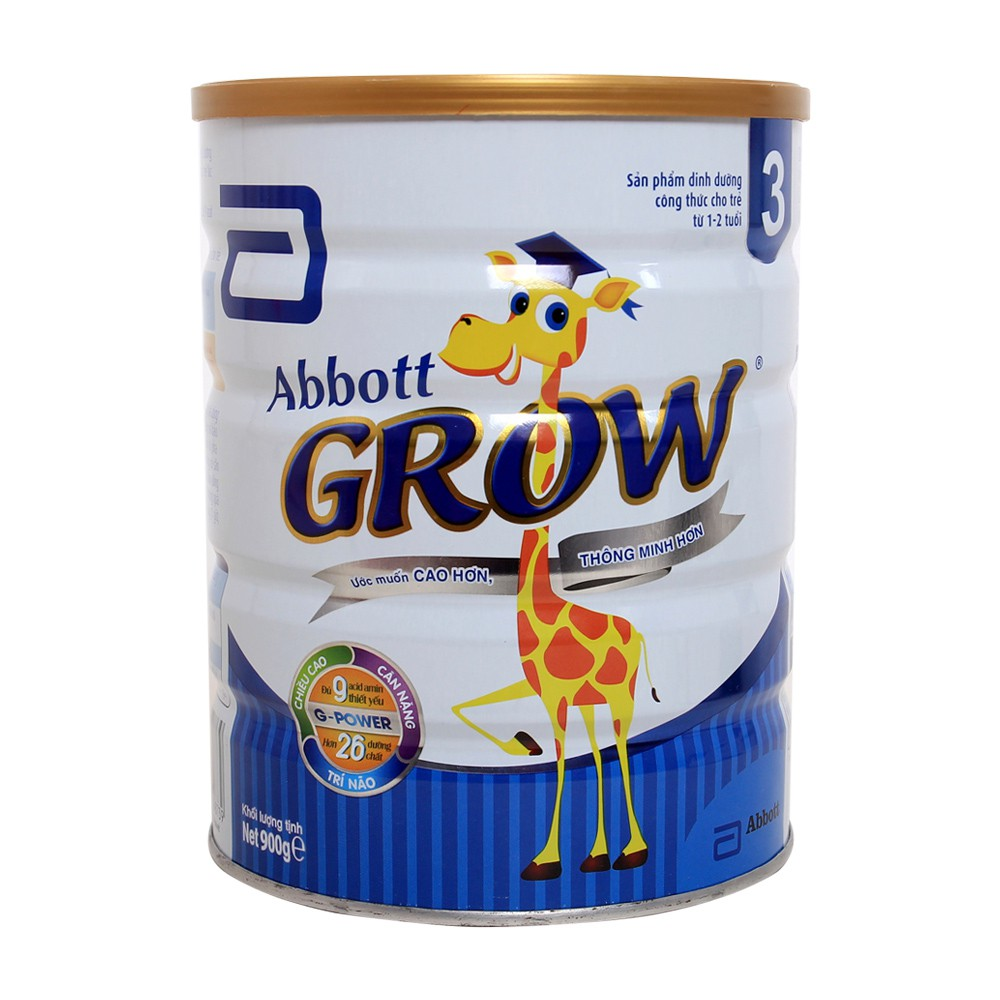 [Mã 267FMCGSALE giảm 8% đơn 500K] Sữa bột Abbott Grow 3 900g
