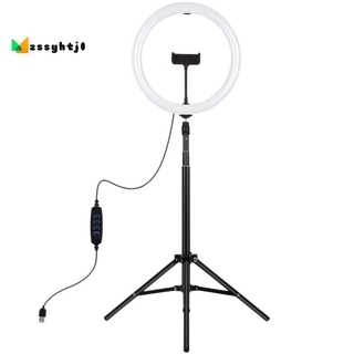 `PULUZ 1.65M Tripod Mount + 11.8 Inch 30cm Curved Surface USB 3 Modes Dimmable Dual Color Temperature LED Ring Video Light