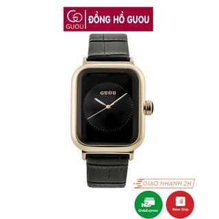 [Mã FASHIONRNK giảm 10K đơn 50K] Đồng hồ nữ Guou 8162 chính hãng mặt vuông dây da viền mạ vàng cao cấp chống nước thumbnail
