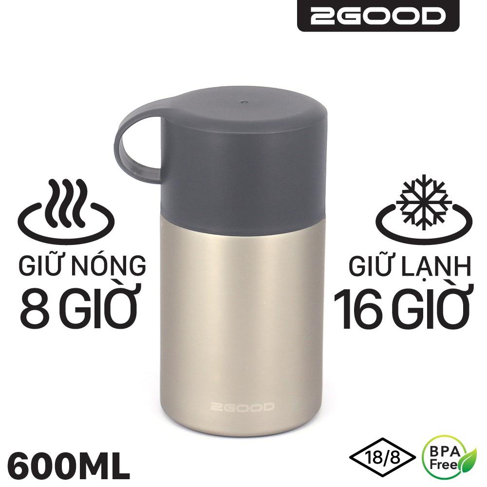 Bình giữ nhiệt ủ cháo 2GOOD 600ml, Thìa Gấp, lõi inox, Có quai xách, Bảo hành Giữ nhiệt