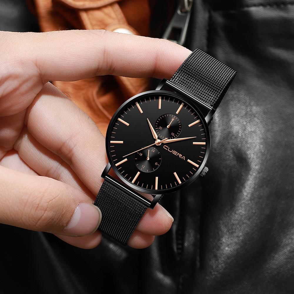 (HOT) Đồng hồ NAM CUENA C178 dây thép mành cao cấp không gỉ