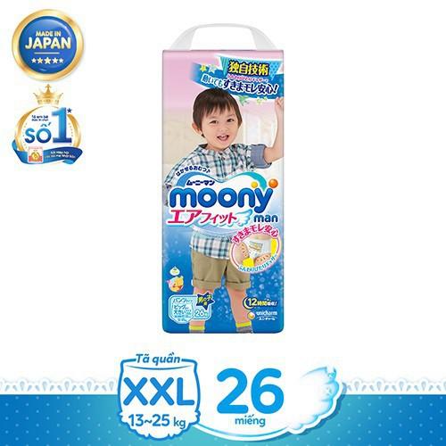 [Toàn quốc][Tặng bộ 6 cuốn Ehon] Bộ 2 Tã quần cao cấp bé trai/gái Moony M58/L44/XL38/XXL26/NB90