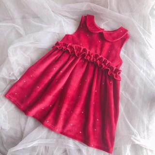 Váy Nhung ZARA đỏ bèo chấm bi tim xinh xắn