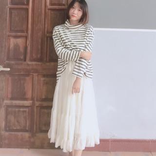 Chân váy dài màu trắng sữa (2hand)