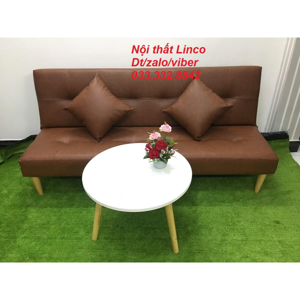 SB16- Bộ ghế sofa bed, sofa giường màu nâu và bàn tròn, 1m7x90, salon, sopha, bộ ghế sofa phòng khách, sô pha