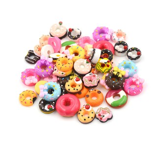 {NUV} 10Pcs Lovely DIY Phone Case Decor Crafts Miniature Resin Doughnut Dollhouse Food Supply{LJ}