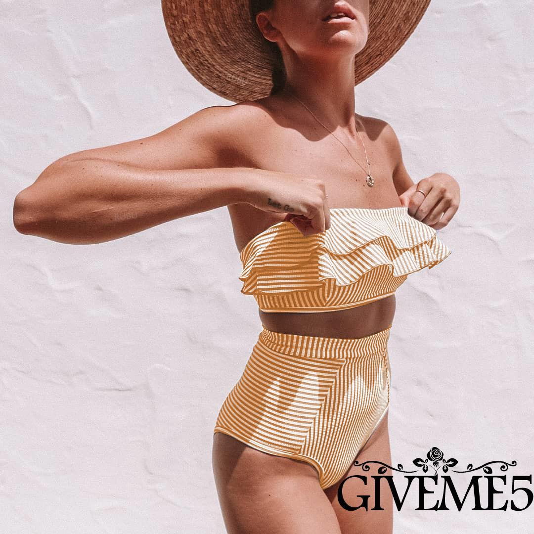 Mặc gì đẹp: Hè vui với Set Đồ Tắm Hai Mảnh Họa Tiết Sọc Ngang Quyến Rũ Dành Cho Nữ