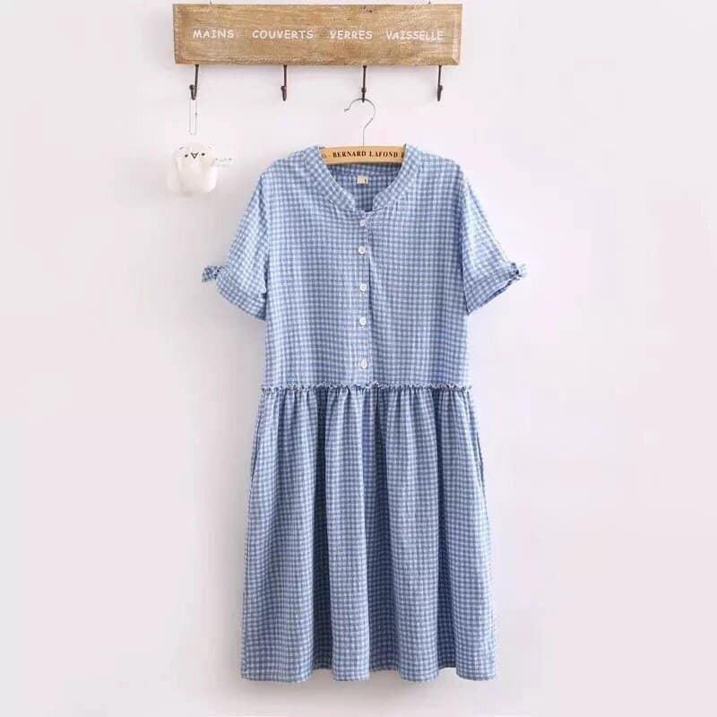 Đầm váy xòe caro xanh