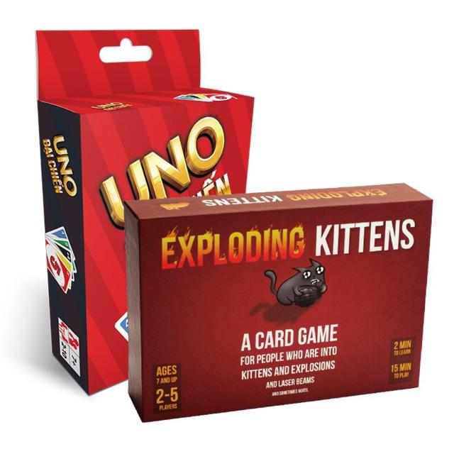 Combo Uno đại chiến + Mèo nổ - Exploding Kittens