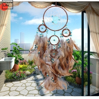 Mizzle Craft Handmade Coffee TurquoiseDream Catcher Feather Bead Wall Car Hanging Ornament Home Decoration Wind Chime