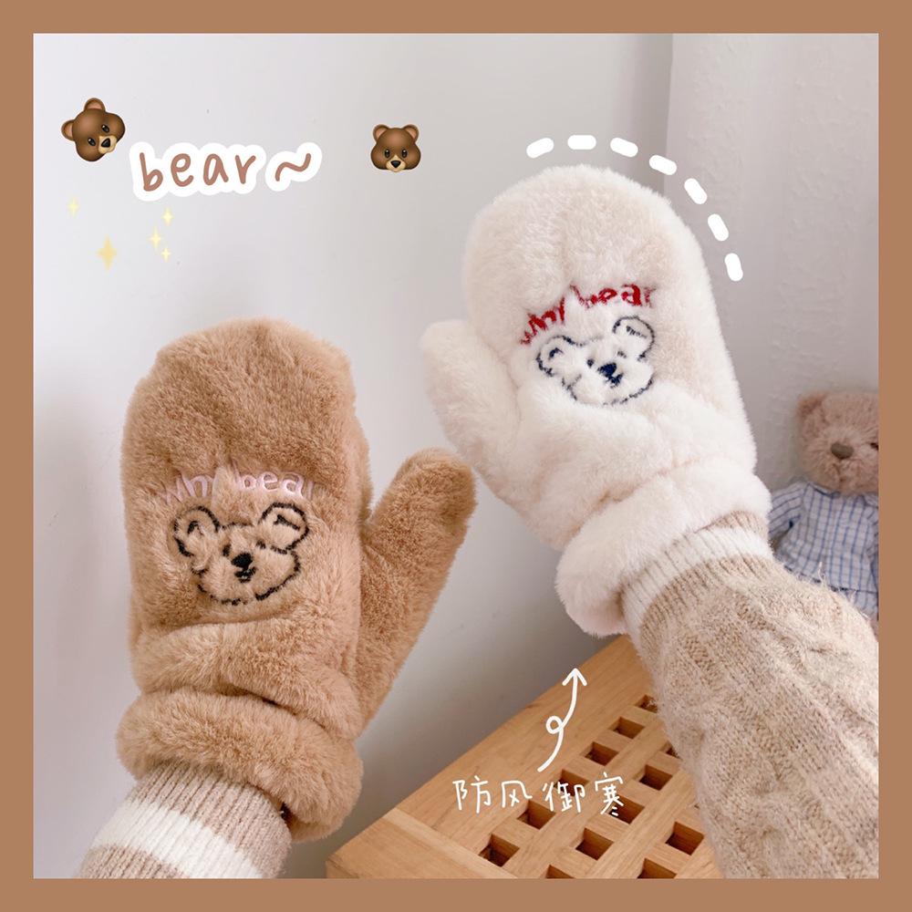 Găng tay lông xù in họa tiết gấu giữ ấm cho nữ vào mùa đông