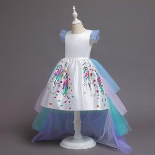 Đầm công chúa họa tiết hình kỳ lân dễ thương cho bé gái