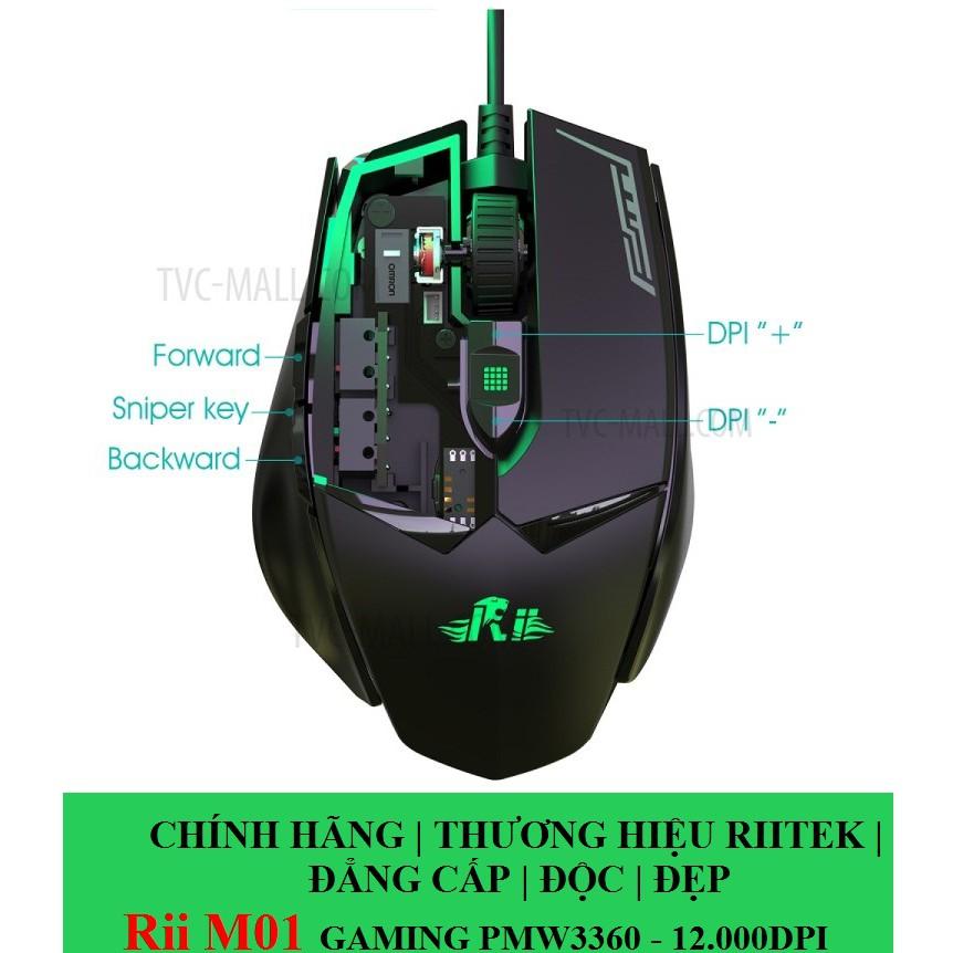 [CHÍNH HÃNG THƯƠNG HIỆU RIITEK] Rii M01 Chuột chơi game, 12000 DPI Độ chính xác cao RGB 16.8 Triệu m