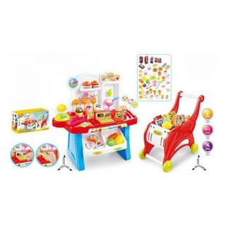 Set đồ chơi máy tính tiền siêu thị quầy kem và xe đẩy siêu thị