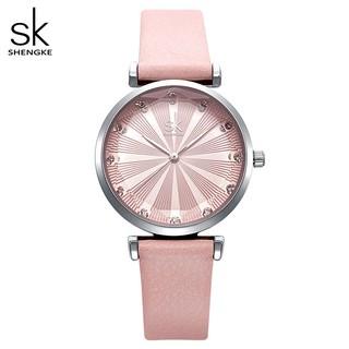 Đồng hồ đeo tay Shengke mặt đồng hồ khắc chữ thời trang sang trọng cho nữ