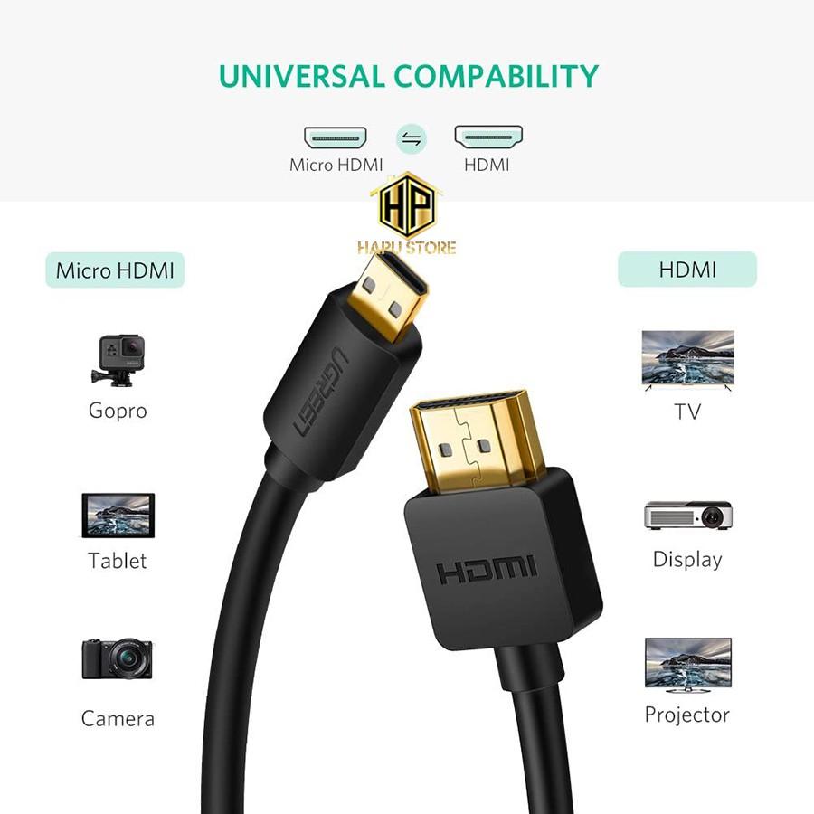 Cáp Micro HDMI sang HDMI Ugreen HD127 hỗ trợ Full HD chính hãng - Hapustore