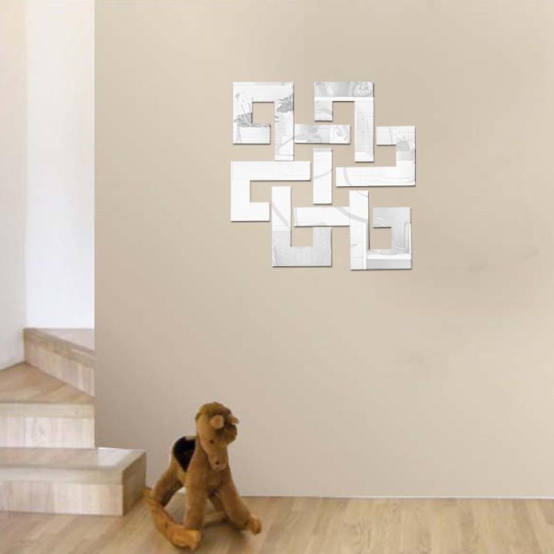 Chinese Knot DIY 3D Acrylic Modern Mirror Decal Art Mural Wall Sticker Home Decor