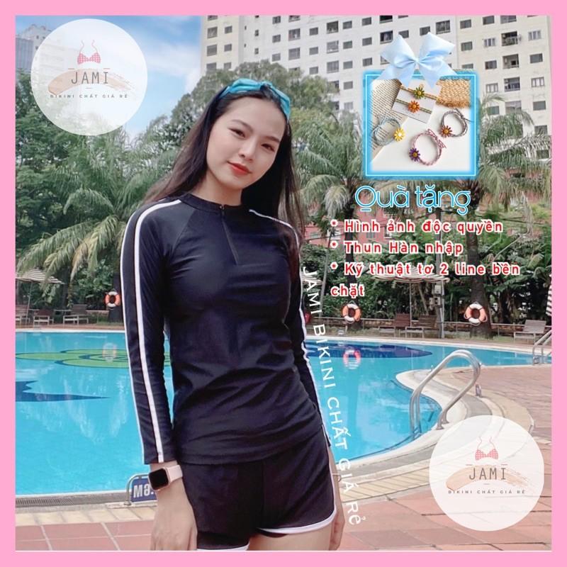Đồ Bơi Bikini Tay Dài Đen Quần Đùi Kín Đáo Dây Kéo Đi Tắm Biển Học Sinh Kín Đáo Jami - Atd4.1 thumbnail