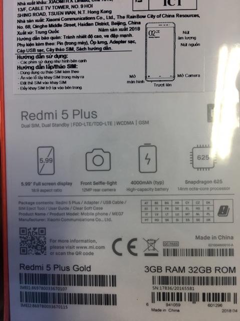Điện thoại xiaomi Redmi 5 plus - chính hãng (dgw phân phối)