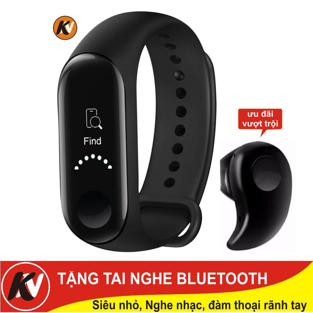 Combo Vòng đeo tay thông minh Xiaomi Mi Band 3, Miband3, Mi band3 (Đen) - Hàng chính hãng + Tai nghe