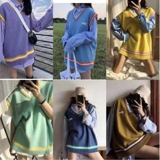 [Sẵn + ảnh thật] Áo len gile mác chữ oversize thời trang phong cách Hàn nhiều màu đa dạng cho học sinh – 011