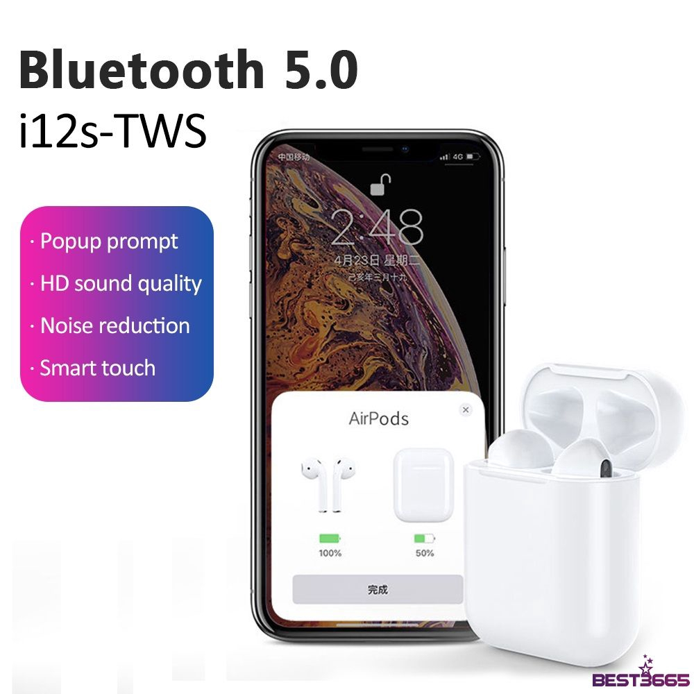 headset i12 Tws For Ios Android Wireless Stereo Earphone Bluetooth 5.0 Support Smart Pop-Up 【BEST】