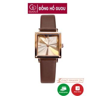Đồng hồ nữ đeo tay dây da Guou mặt vuông chính hãng chống nước tuyệt đối 8096 thumbnail