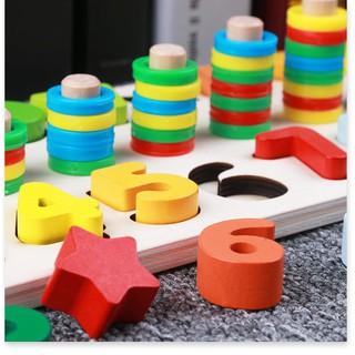 Bảng gỗ ghép số và hình giúp bé phát triển trí thông minh 6408
