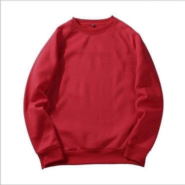Áo sweater nam nữ 2 màu đỏ đô & đen