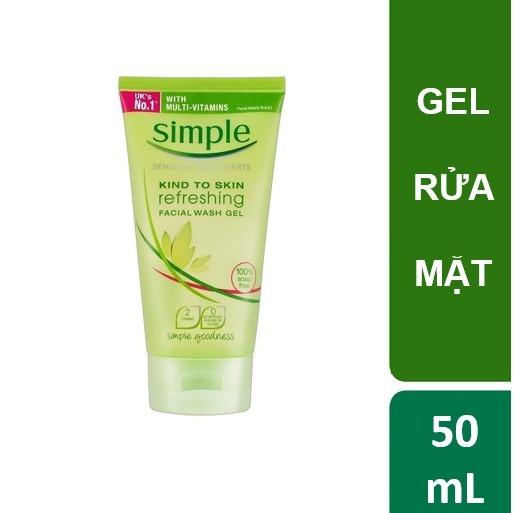 Sữa rửa mặt dạng gel Simple Refreshing Facial Wash 50ml