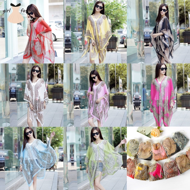 Women Summer Sunscreen Chiffon Beach Shawl Scarf