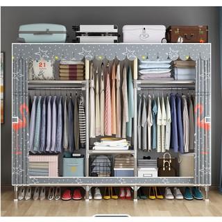 Tủ vải treo quần áo khung gỗ 3 buồng GỖ BỌC NHỰA Loại 1