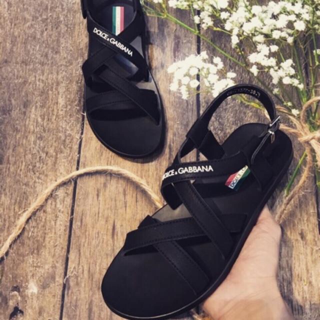 Sandan nam /dép quai hậu da Dolce & Gabbana siêu bền Ā]