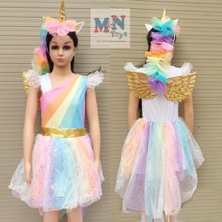Bộ váy hóa trang Ngựa Pony cầu vồng có cánh cho dịp Trung thu, Halloween
