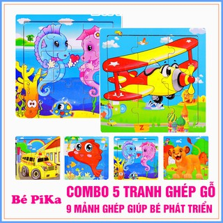 COMBO 5 Bộ Ghép Hình 9 Mảnh Cho Bé