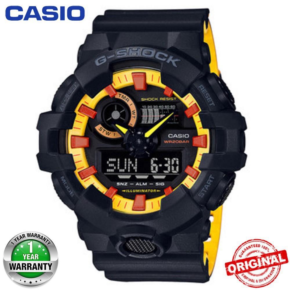 (ขายบ้า) Casio G-Shock นาฬิกาข้อมือผู้ชายกีฬานาฬิกาควอตซ์ GA-700BY-1APRDC