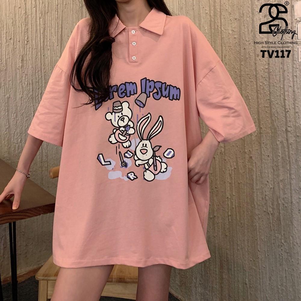 Áo Polo Nữ Form Rộng Tay Lỡ 2s Clothing Áo Phông Có Cổ Nữ Dáng Dài Giấu Quần Oversize Cotton Giá Rẻ In Hình Anime TV117