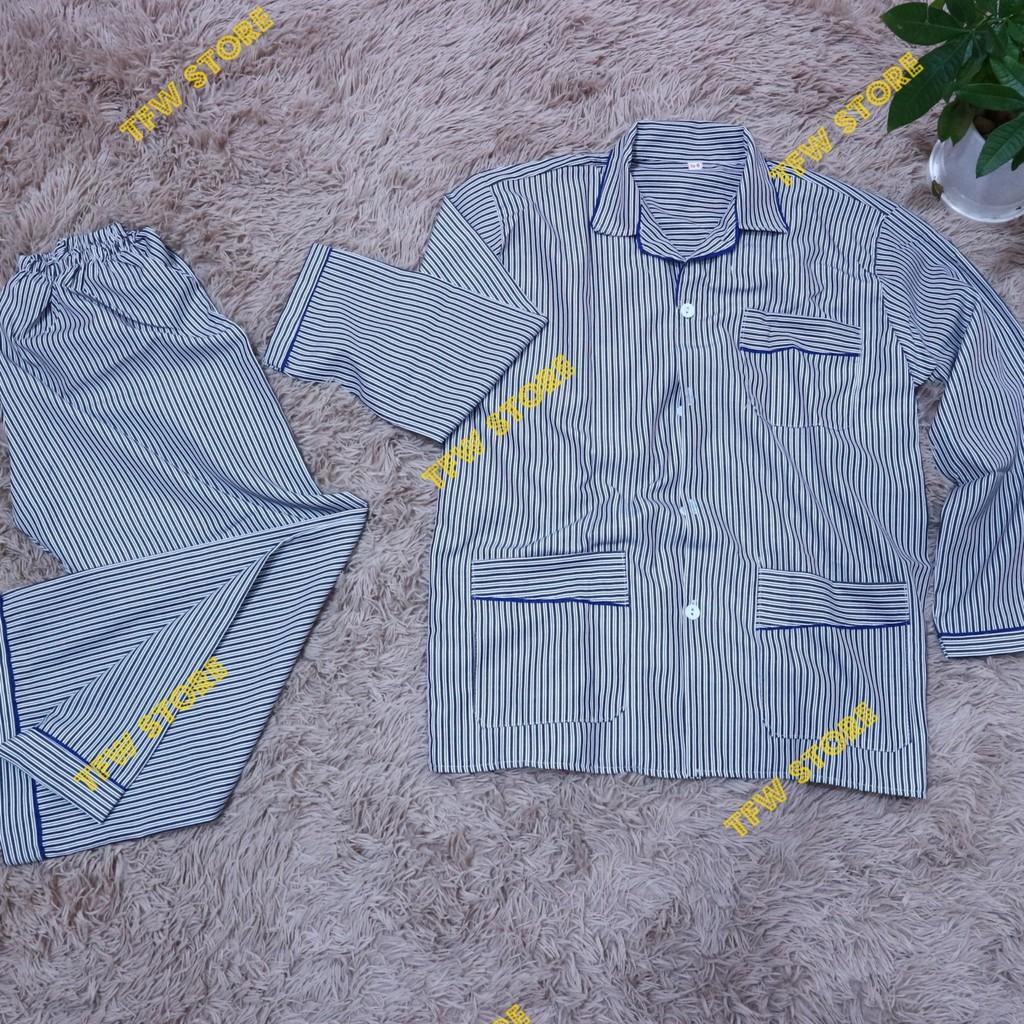 Bộ pijama nam trung niên vải kate kẻ sọc (pyjama, dài tay), quần áo mặc nhà, bộ ngủ cho ông, cho bố - Hàng VN