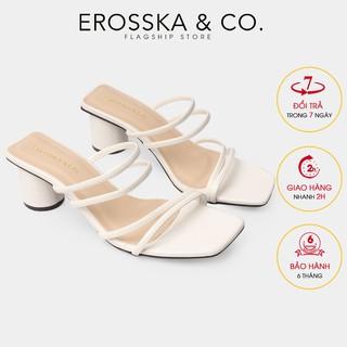 Giày cao gót Erosska mũi vuông phối dây quai mảnh cao 5cm màu trắng _ EM038