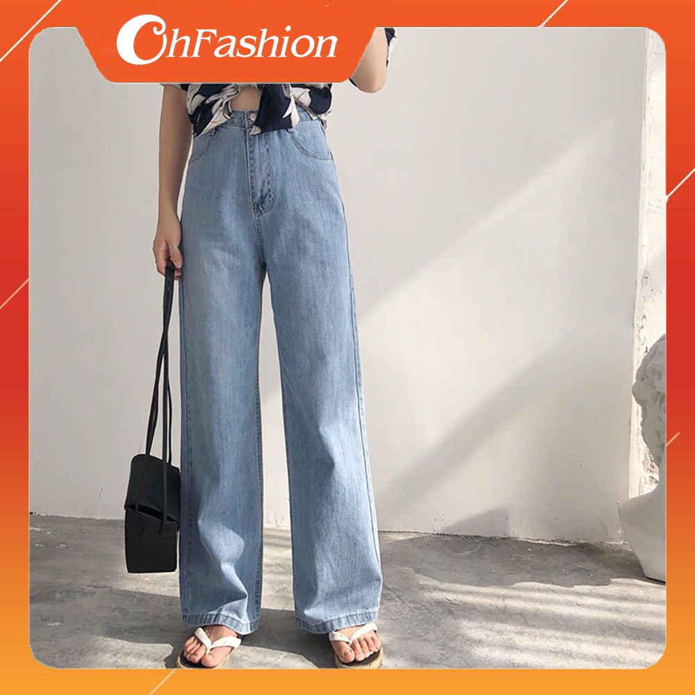 [Mã 1010FASHIONSALE52 giảm 10K đơn 50K] FS50K_Quần Jeans Nữ Ống Rộng Cao Cấp OHS3100