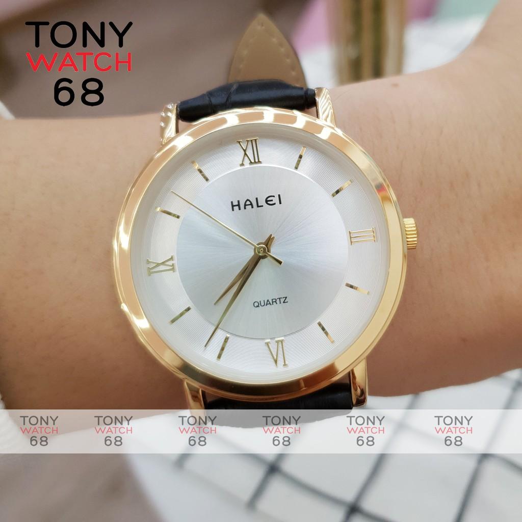 Đồng hồ nam Halei dây da mặt đồng tâm siêu mỏng mạ vàng chống nước chính hãng Tony Watch 68