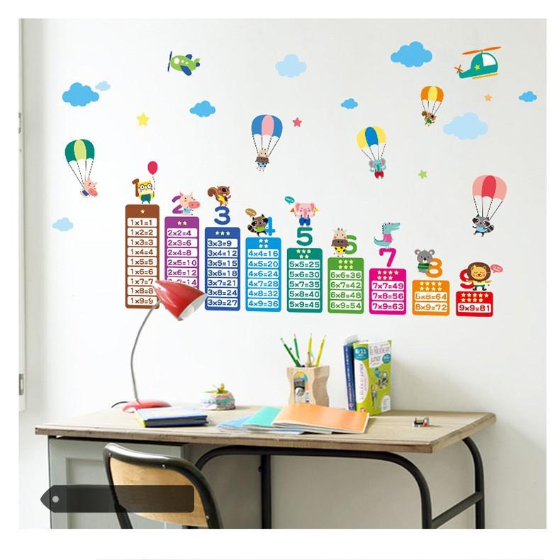 Decal dán tường trang trí phòng trẻ em bé hình bảng cửu chương