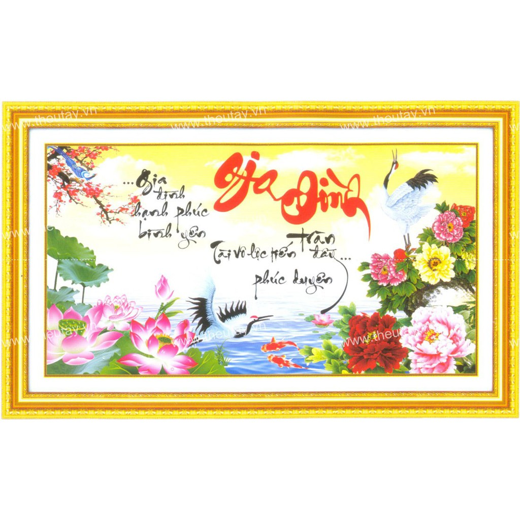 Tranh thêu chữ thập chưa thêu + kết hoa Gia Đình 88824
