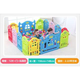 Quây quỹ nhựa cho bé – 14 miếng (12+2 miếng) – Tặng thảm nền và 100 bóng nhựa