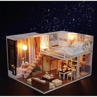 FREESHIP ĐƠN 99K_Mô hình biệt thự Cute Room – nhà búp bê WAITING FOR THE TIME dễ thương (có cót nhạc + mica che bụi)