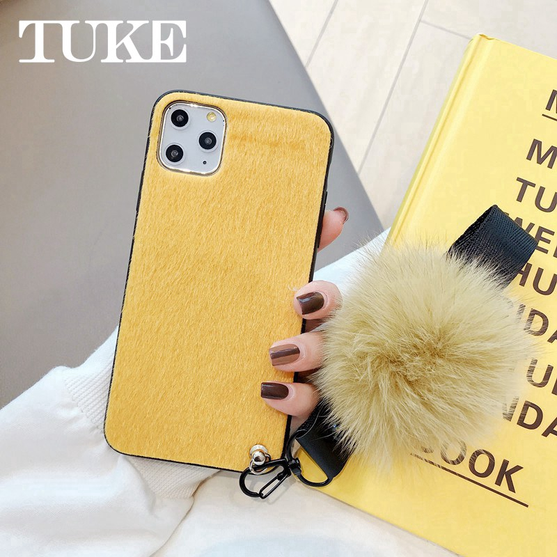 TUKE Phone Case For Xiaomi Redmi 6 Pro 7 7A K20 Note 7 8 Pro Fox Hair Ball Hand Rope Mink Plush Hard Back Cover