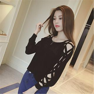 Sexy Korean Women Cross Hollow Thin Knitted Blouse Trend Autumn Plain Casual Long Sleeve Off Shoulder Pullover Tops