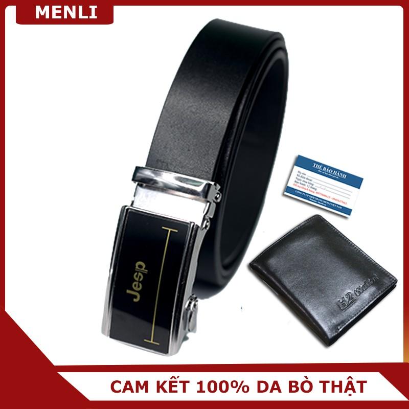 [SIÊU RẺ] Sét ví và dây lưng da bò thật MENLI DLSP104 + Ví da V17